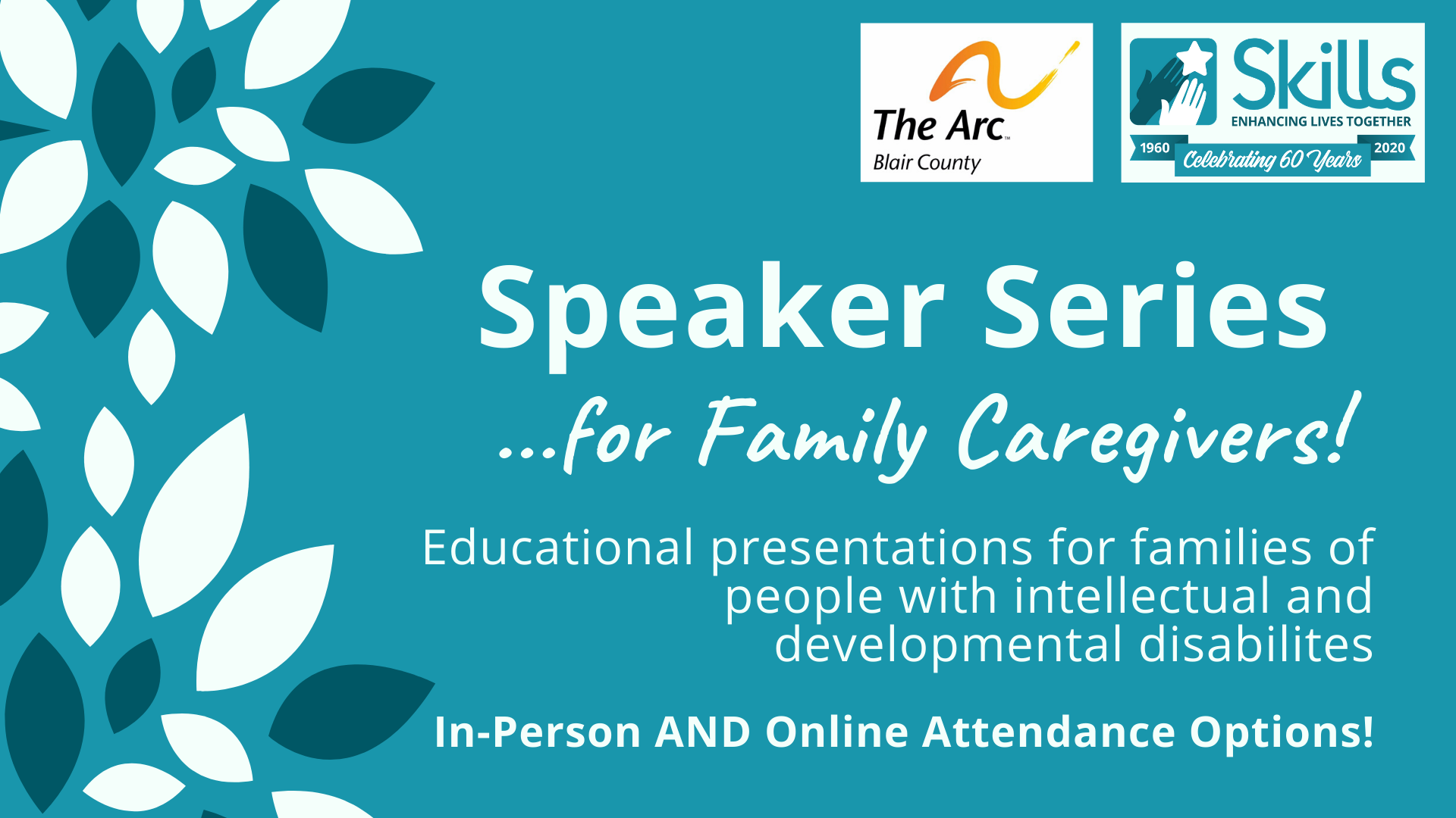 Display image announcing an upcoming speaker series for Family Caregivers.